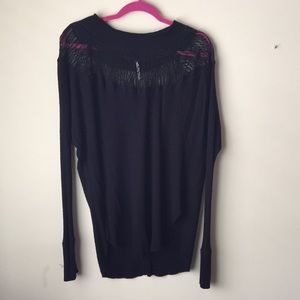 Free People Black Lace Collared Tunic- sz Med